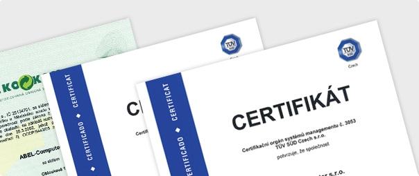 Certifikáty ISO a Eko-kom